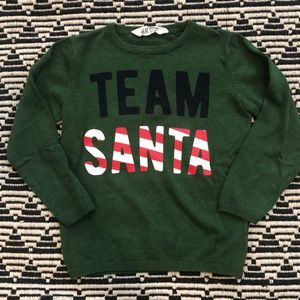 H&M Shirts & Tops - Team Santa Green Sweater H M 4 6